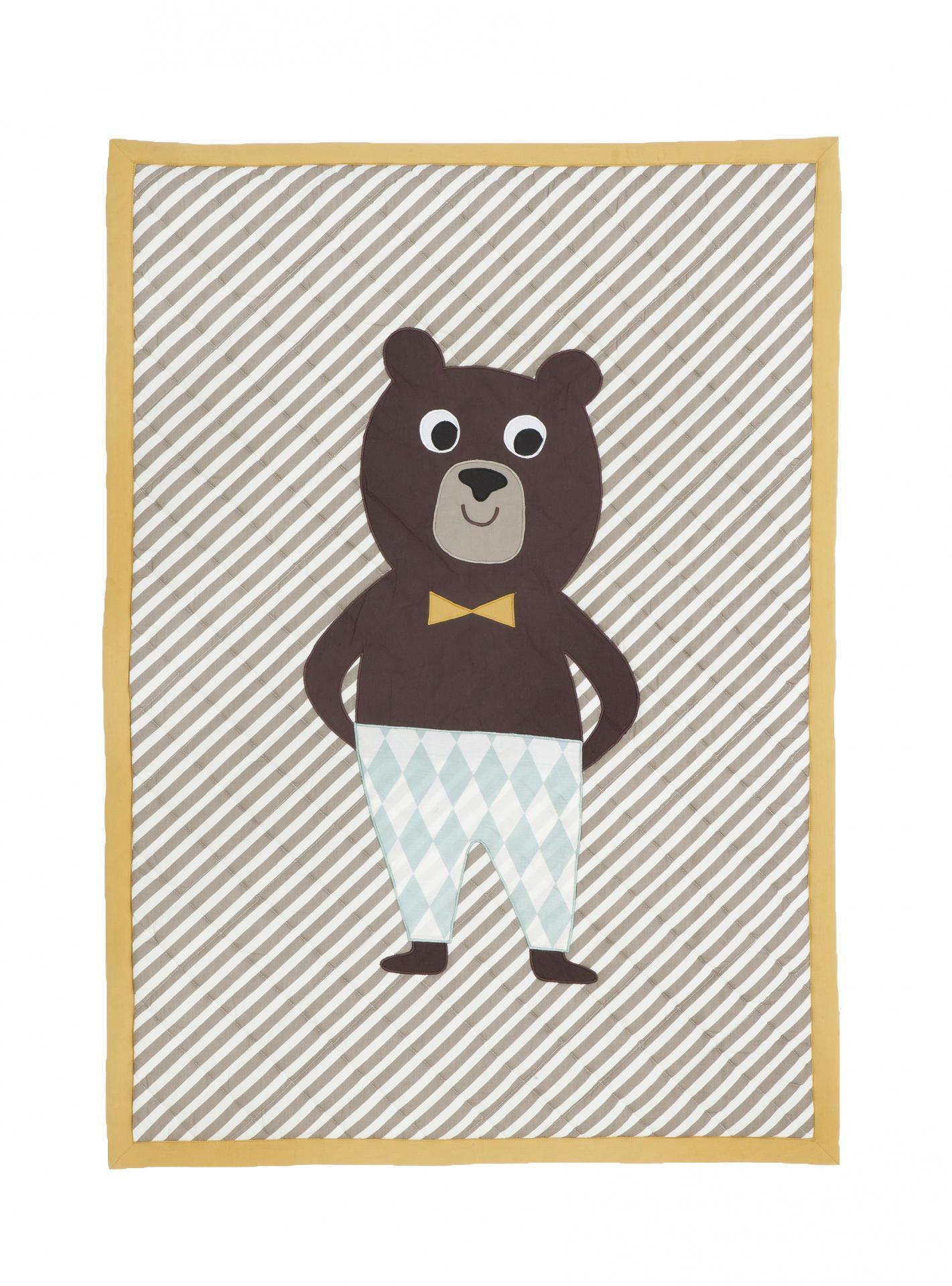 ferm LIVING Prošívaná deka na hraní Bear 70x100, žlutá barva, hnědá barva, textil