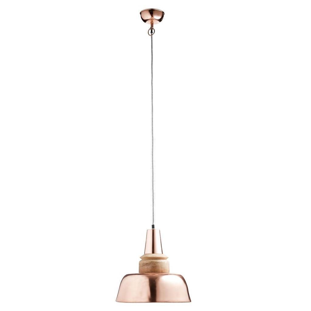MADAM STOLTZ Stropní lampa Copper/wood 29x31, oranžová barva, dřevo, kov