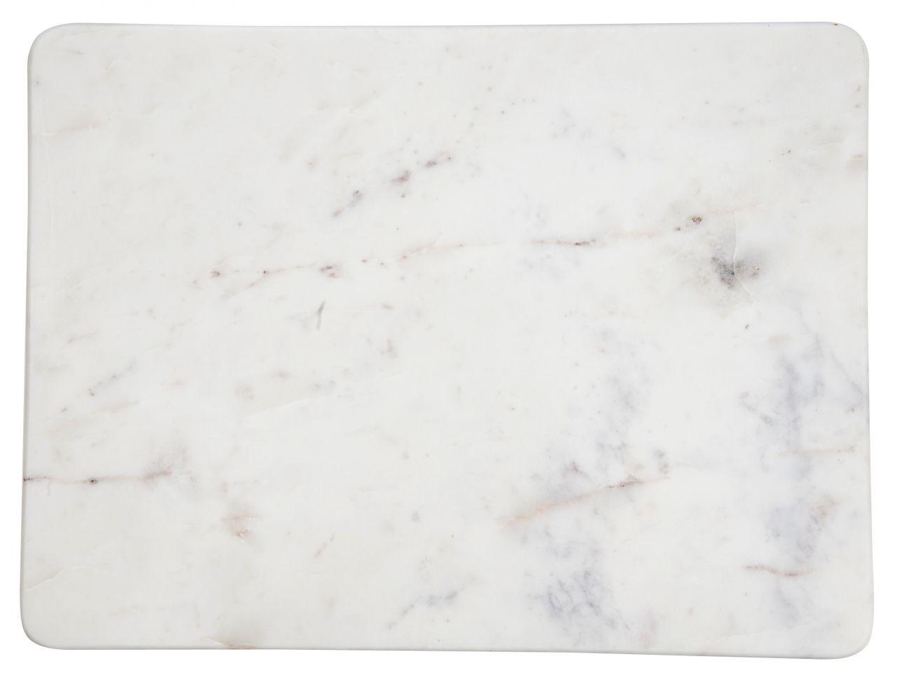 MADAM STOLTZ Mramorová deska white/grey 23x18, šedá barva, bílá barva