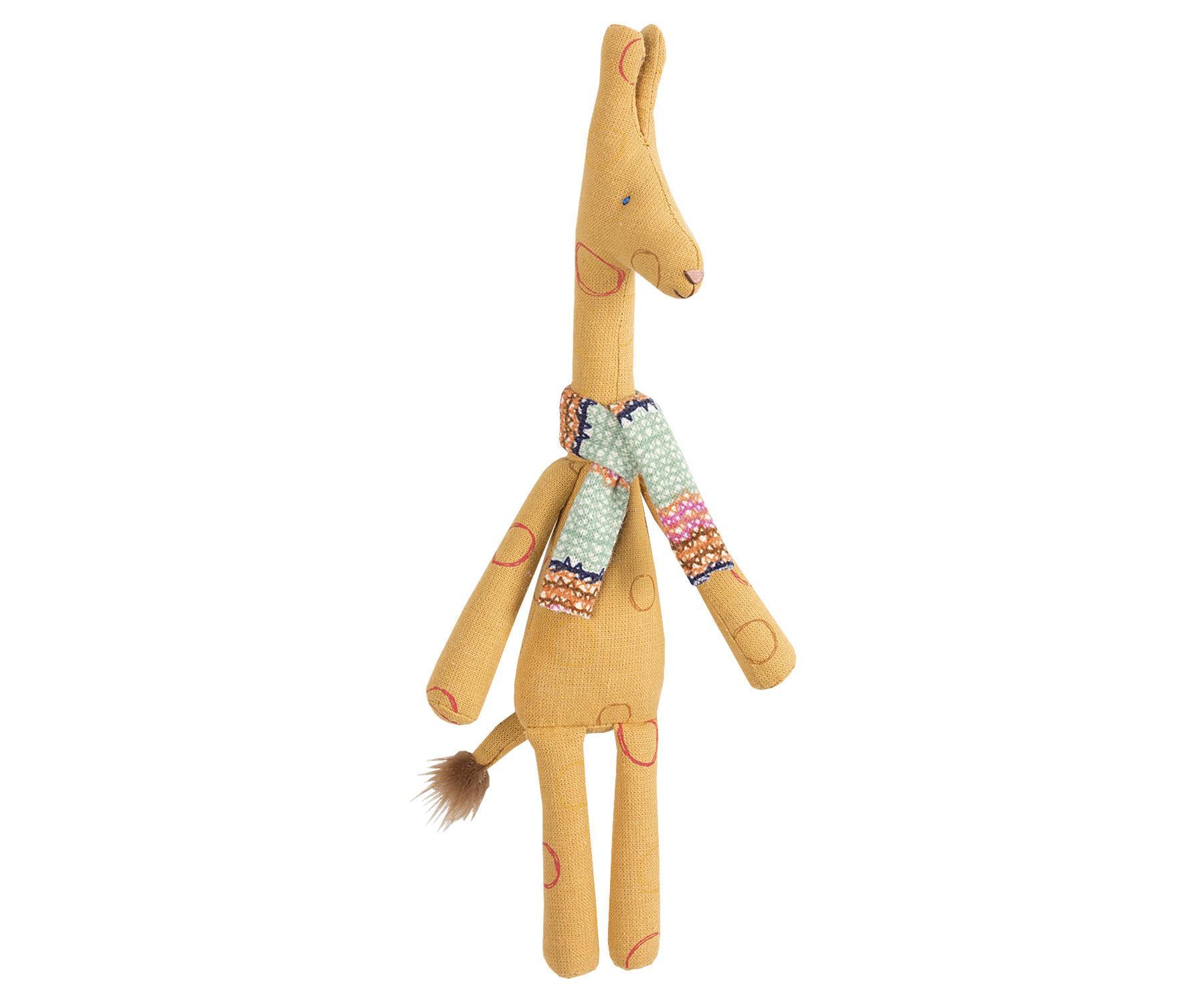 Maileg Textilní žirafa Mini, hnědá barva, textil
