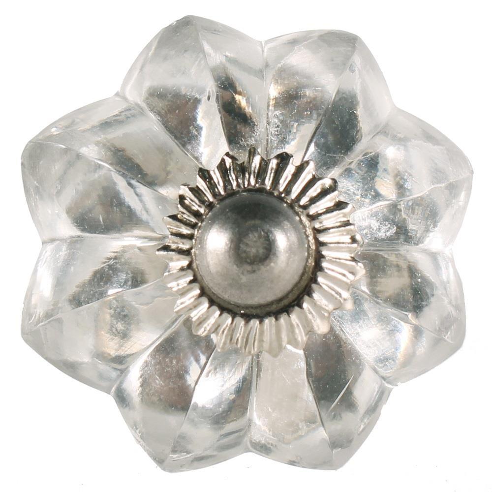 La finesse Skleněná úchytka Antik mini, šedá barva, sklo