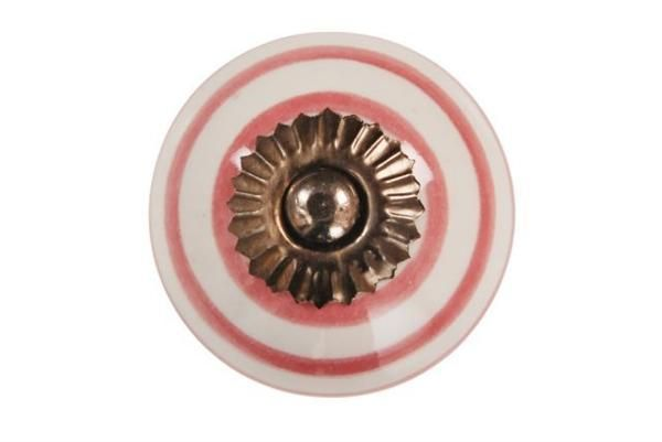 La finesse Porcelánová úchytka Pink striped, růžová barva, porcelán