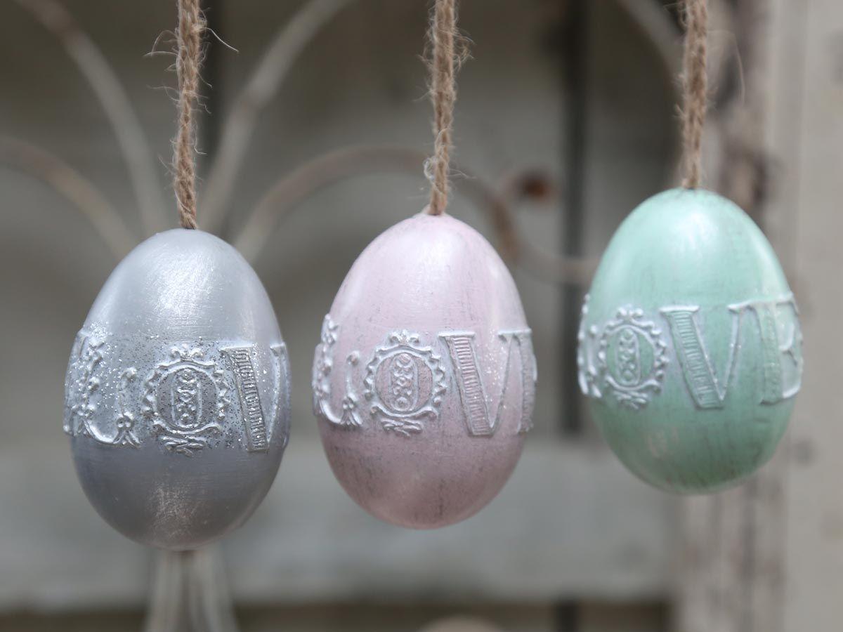 Chic Antique Dekorativní vajíčko Love k zavěšení Zelené, růžová barva, zelená barva, šedá barva, plast