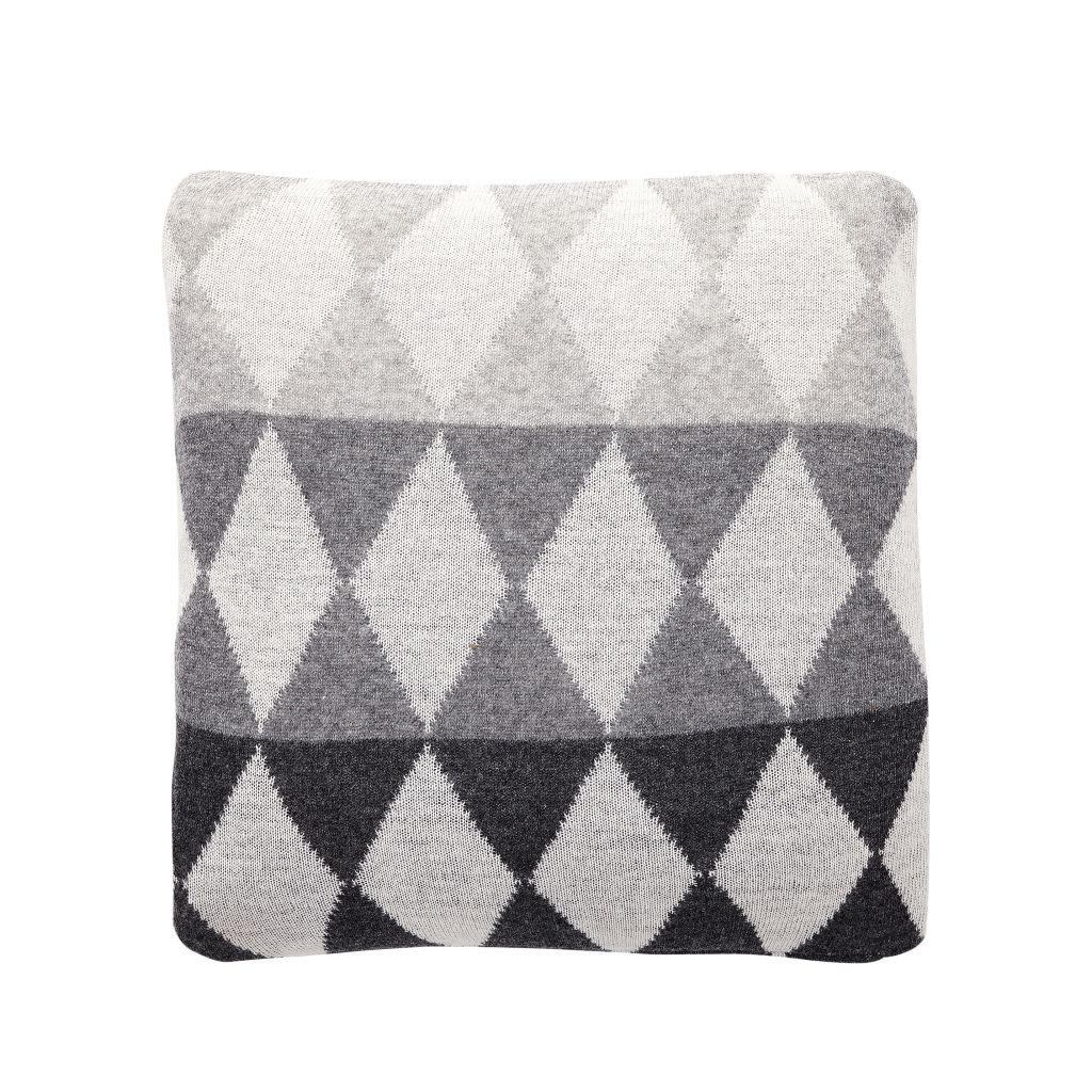 Hübsch Vlněný polštář Lamb grey 45x45, šedá barva, černá barva, bílá barva, textil