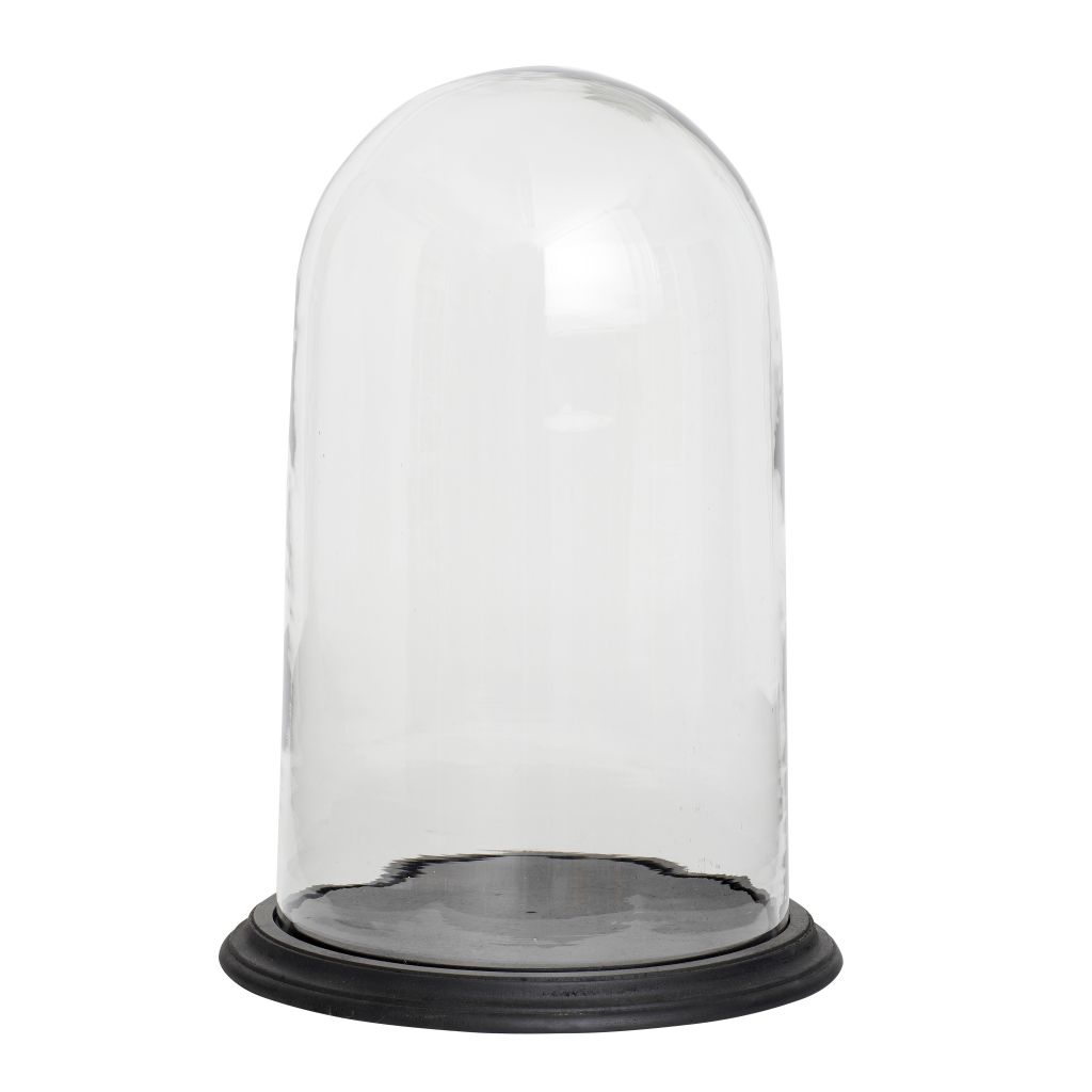 Hübsch Skleněný poklop Glass bell 45cm, černá barva, čirá barva, sklo, dřevo