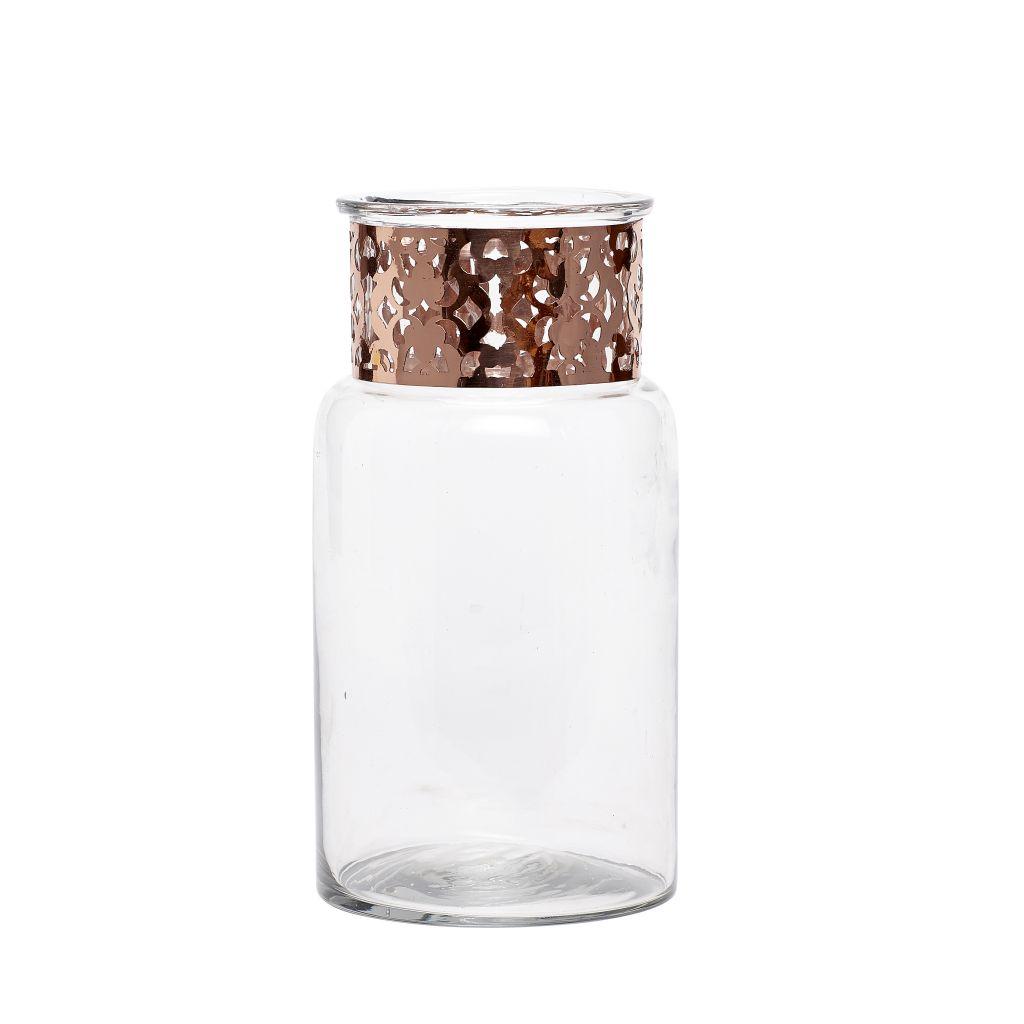 Hübsch Skleněná váza Copper 22cm