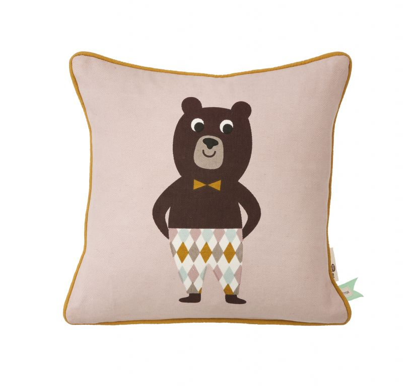 ferm LIVING Polštářek Bear 30x30, růžová barva, hnědá barva, multi barva, textil