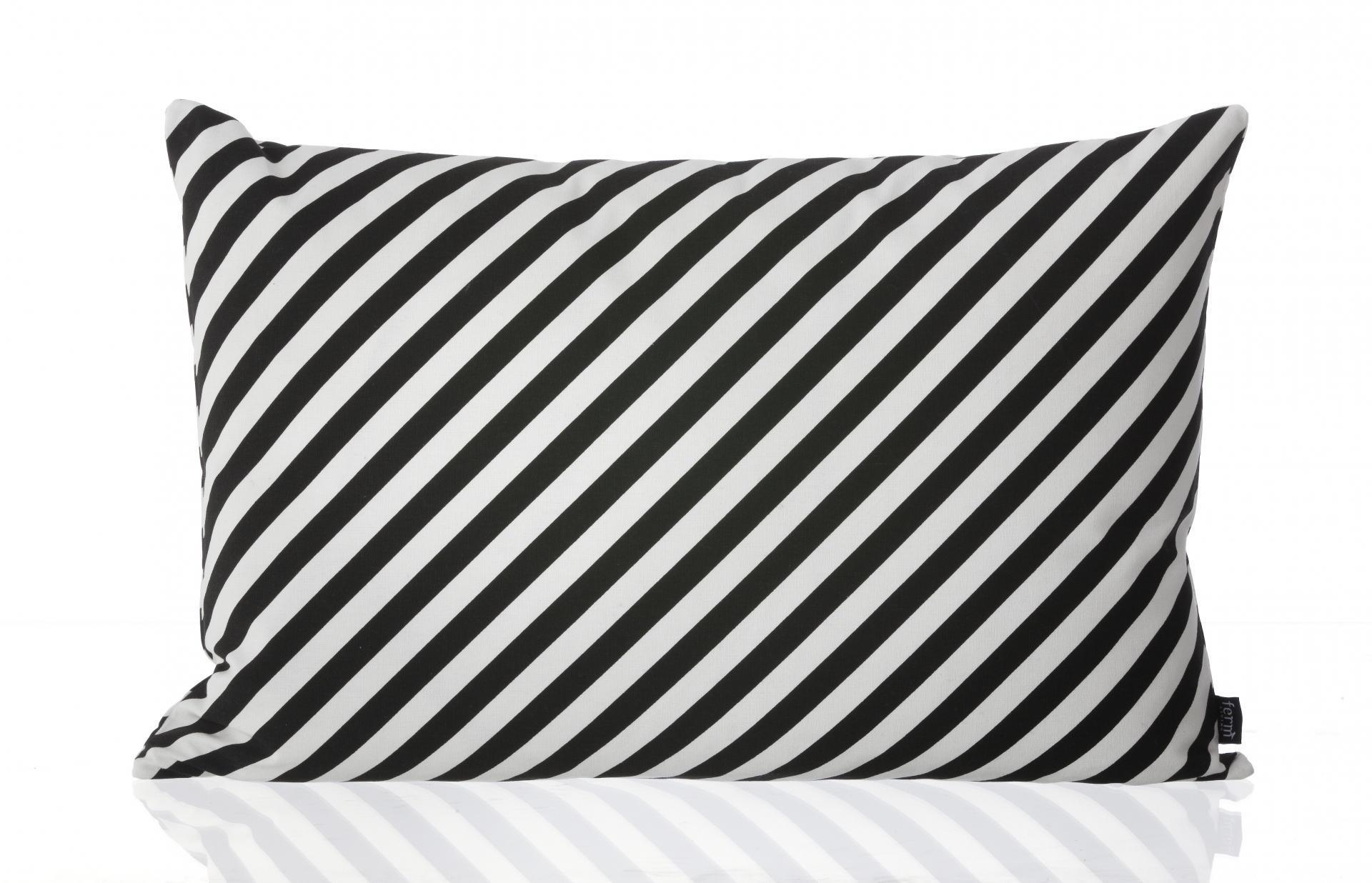ferm LIVING Polštář Black Stripe 60x40, černá barva, bílá barva, textil