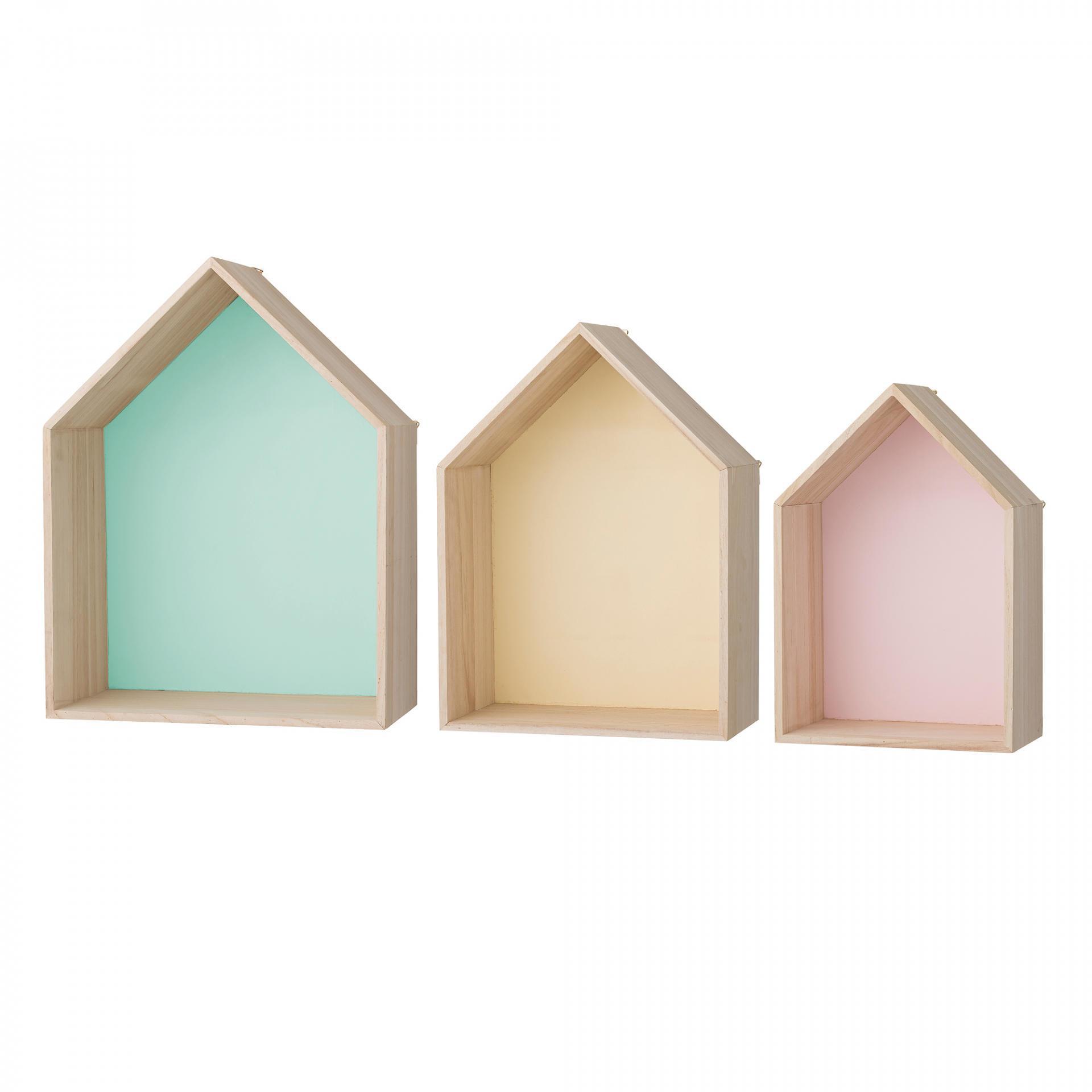 Bloomingville Nástěnná polička House colours L - zelená, růžová barva, zelená barva, žlutá barva, dřevo