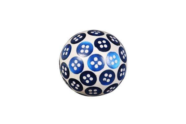 La finesse Dřevěná úchytka Button Blue, modrá barva, dřevo