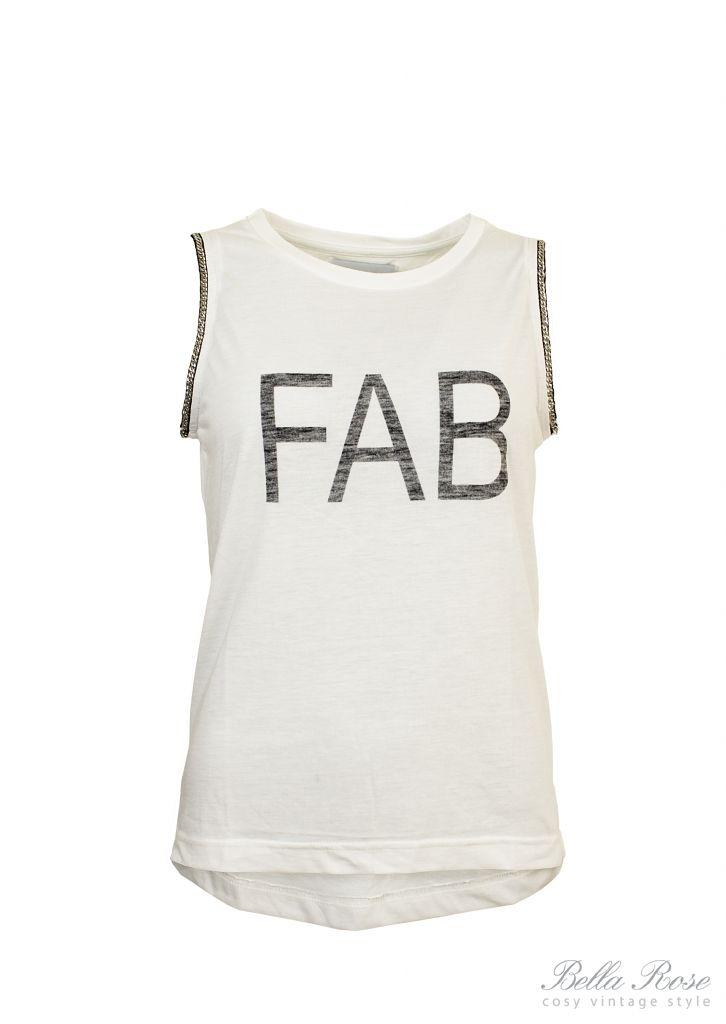 Top Fab Velikost S, bílá barva, textil