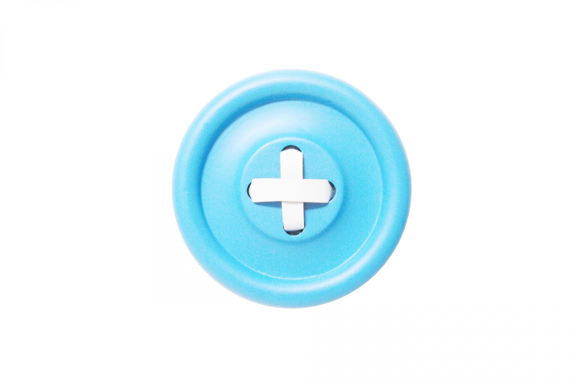 HK living Dřevěný věšák Button Blue/white 18 cm, modrá barva, dřevo