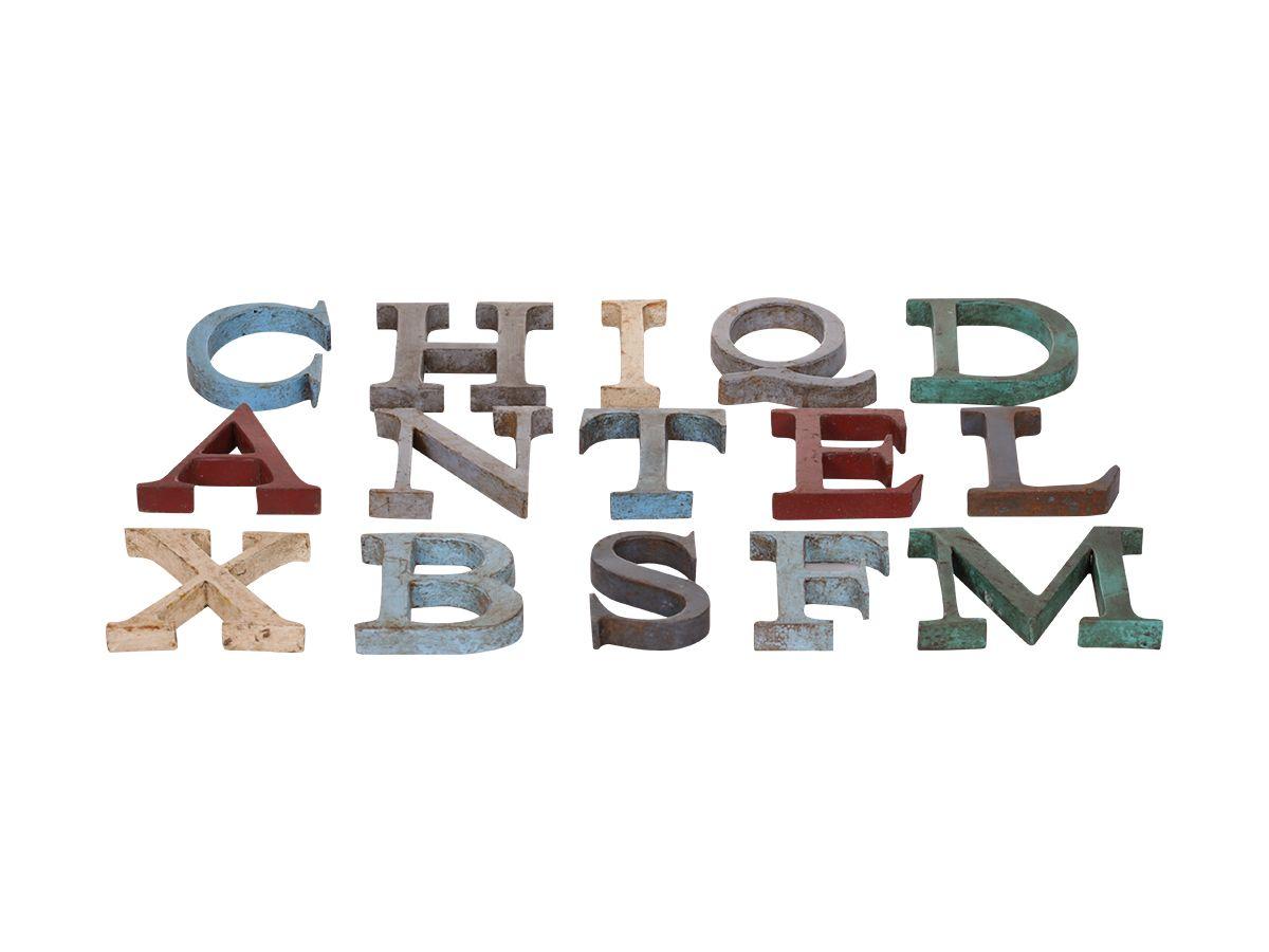 Chic Antique Plechové písmeno A, multi barva, kov