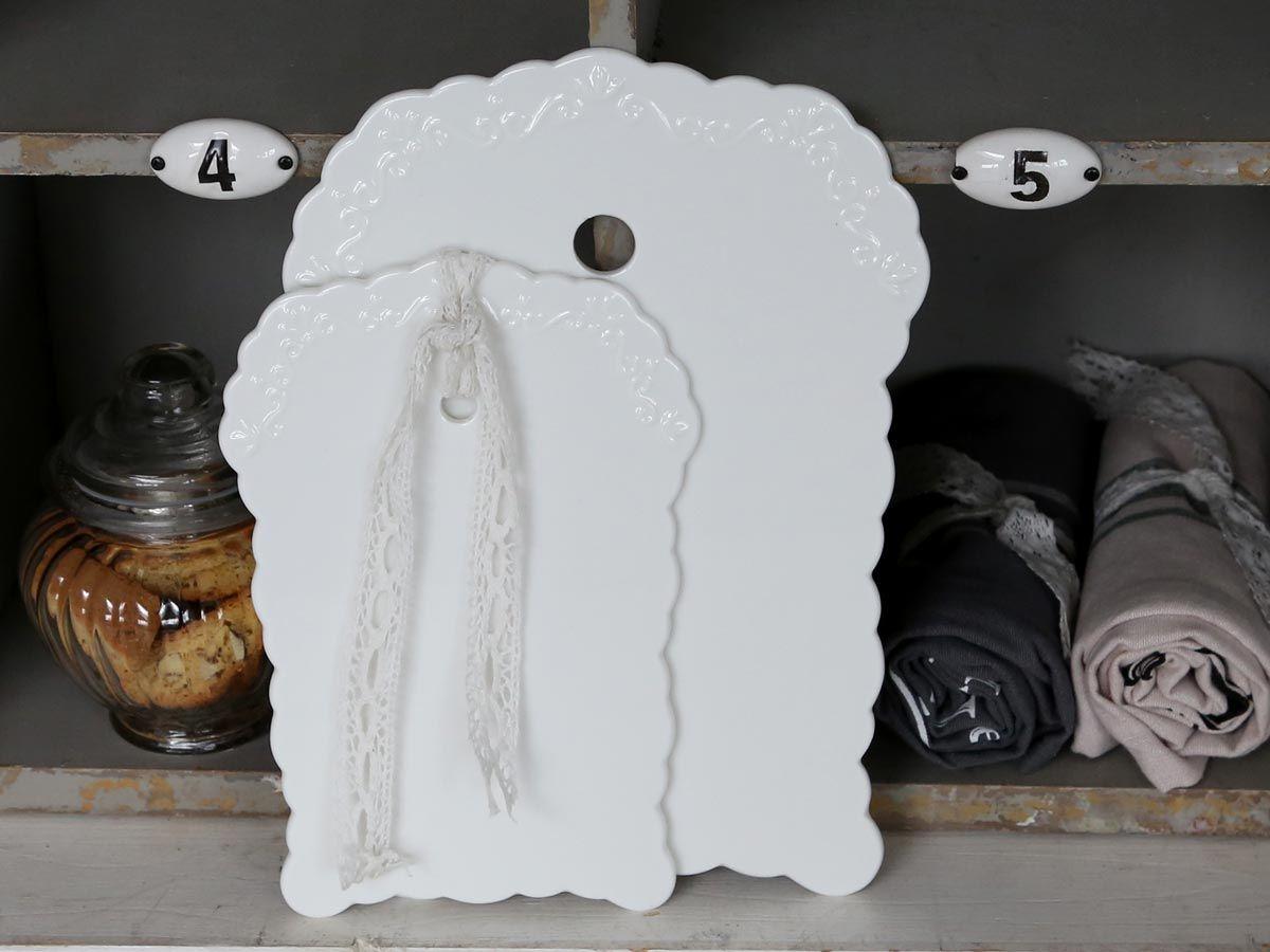 Chic Antique Porcelánové prkénko Provence Menší, bílá barva, porcelán