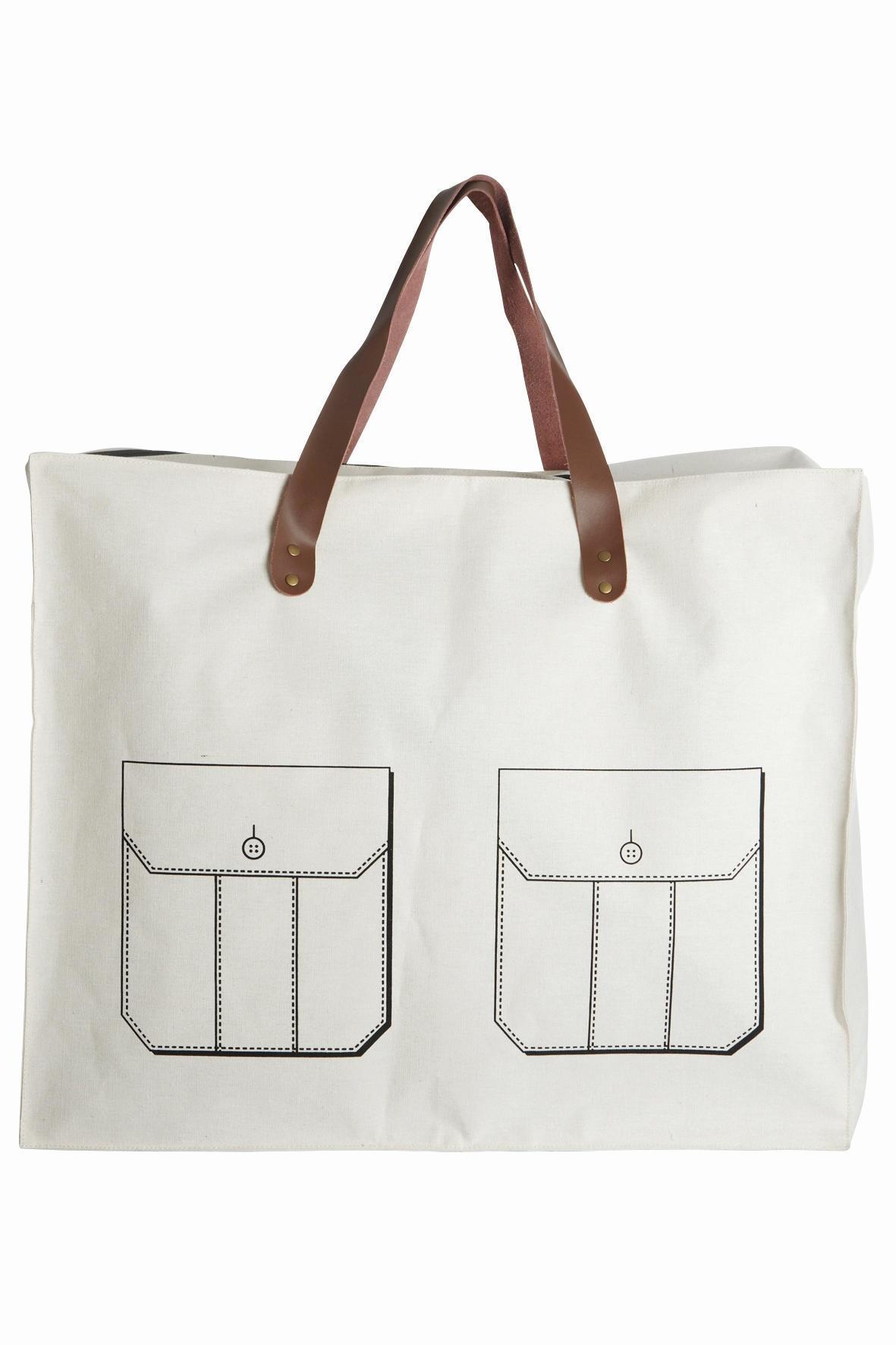 House Doctor Nákupní taška Pocket, bílá barva, textil