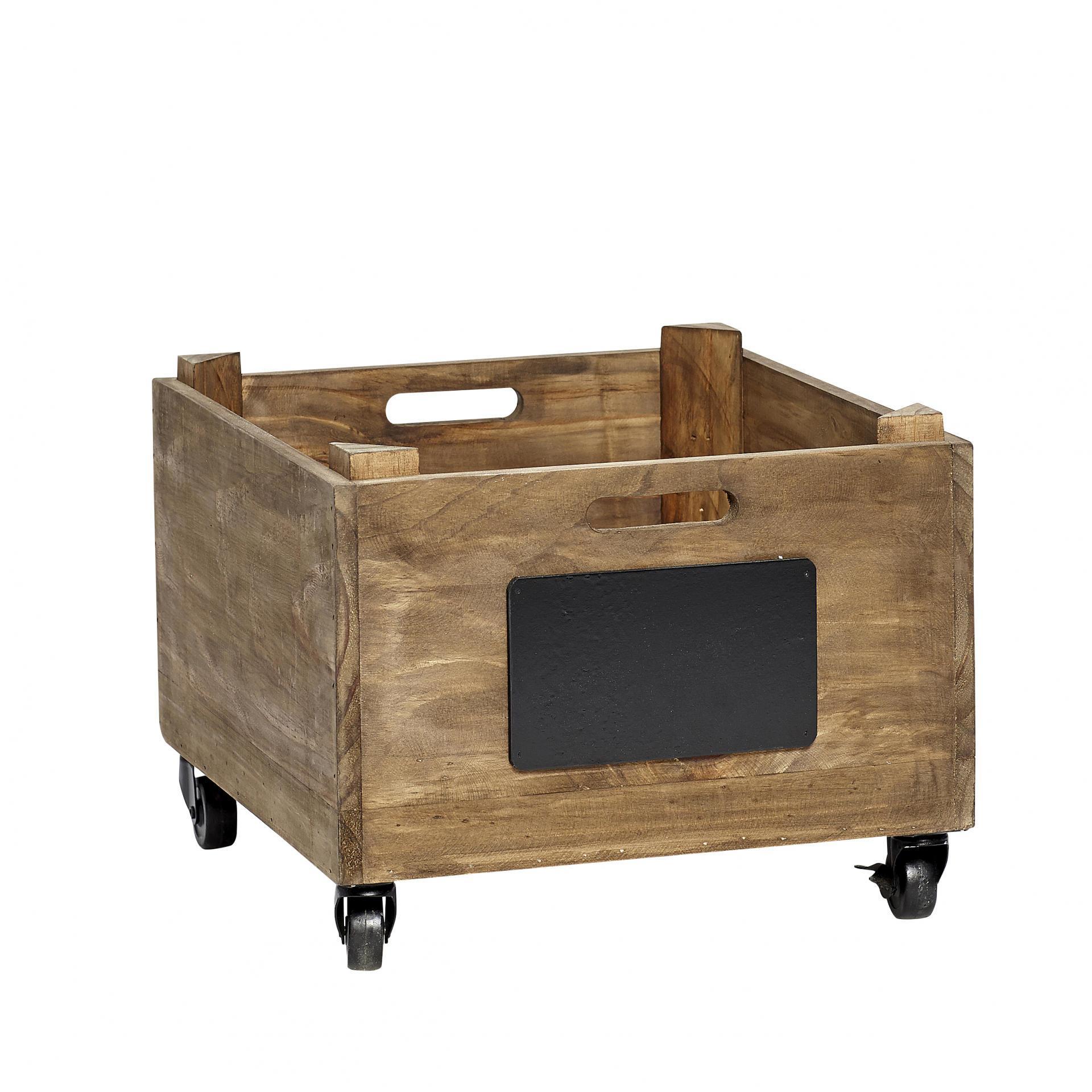 Hübsch Dřevěná bedýnka s kolečky Box