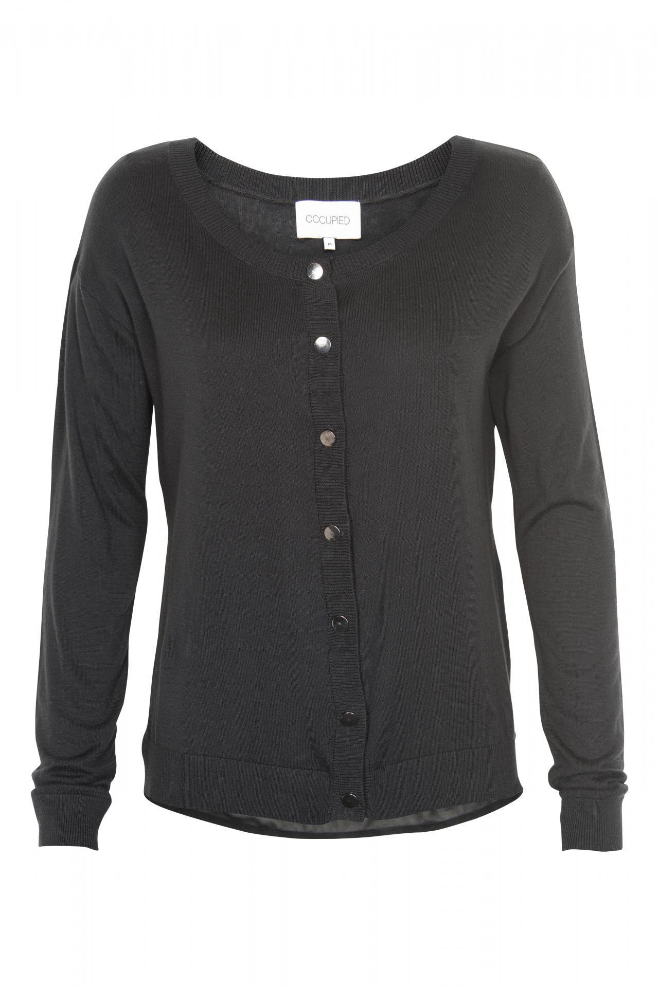 Cardigan Divide Black Velikost S, černá barva, textil