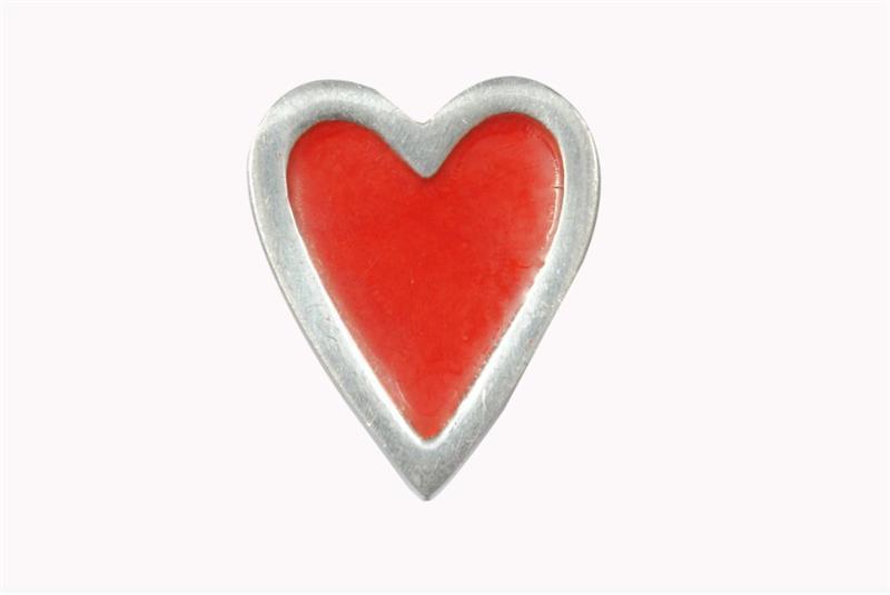 La finesse Kovová úchytka Heart red, červená barva, keramika