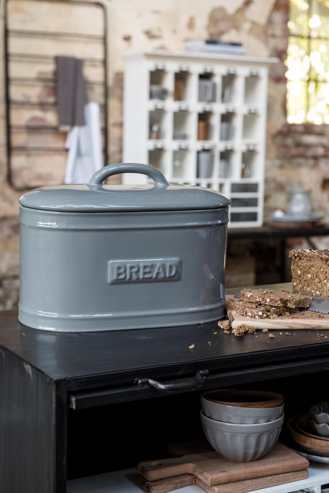 IB LAURSEN Porcelánový box Bread French grey, šedá barva, porcelán