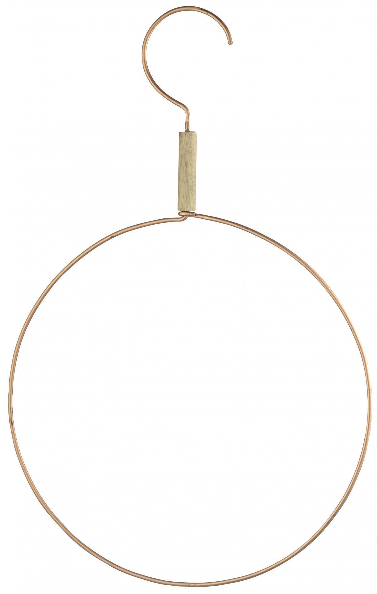 MADAM STOLTZ Kruhový věšák Copper, měděná barva, kov