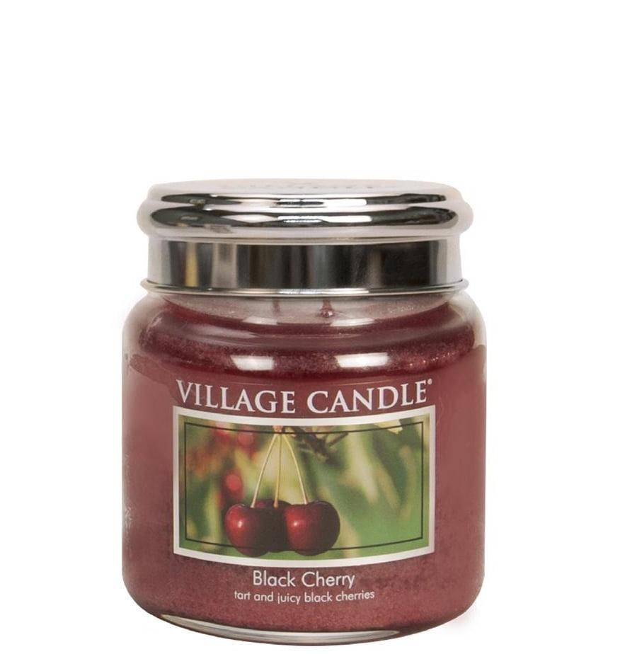 VILLAGE CANDLE Svíčka Village Candle - Black Cherry 389g, červená barva, sklo