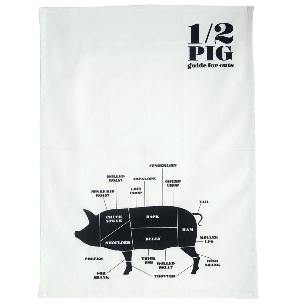 Nicolas Vahé Utěrka Pig 50x70 cm, černá barva, textil