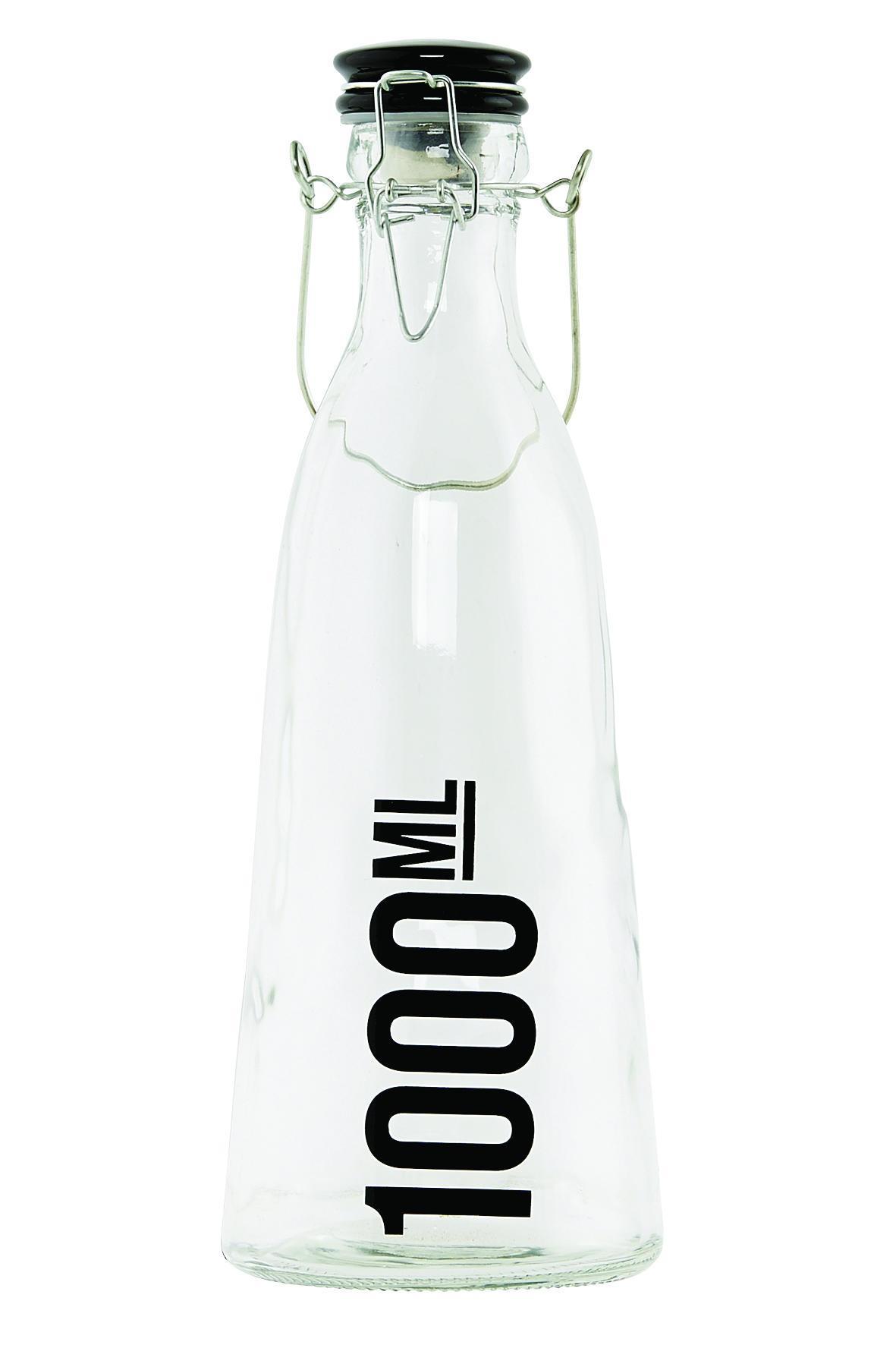 House Doctor Skleněná láhev s keramickým víčkem 1000 ml, čirá barva, sklo