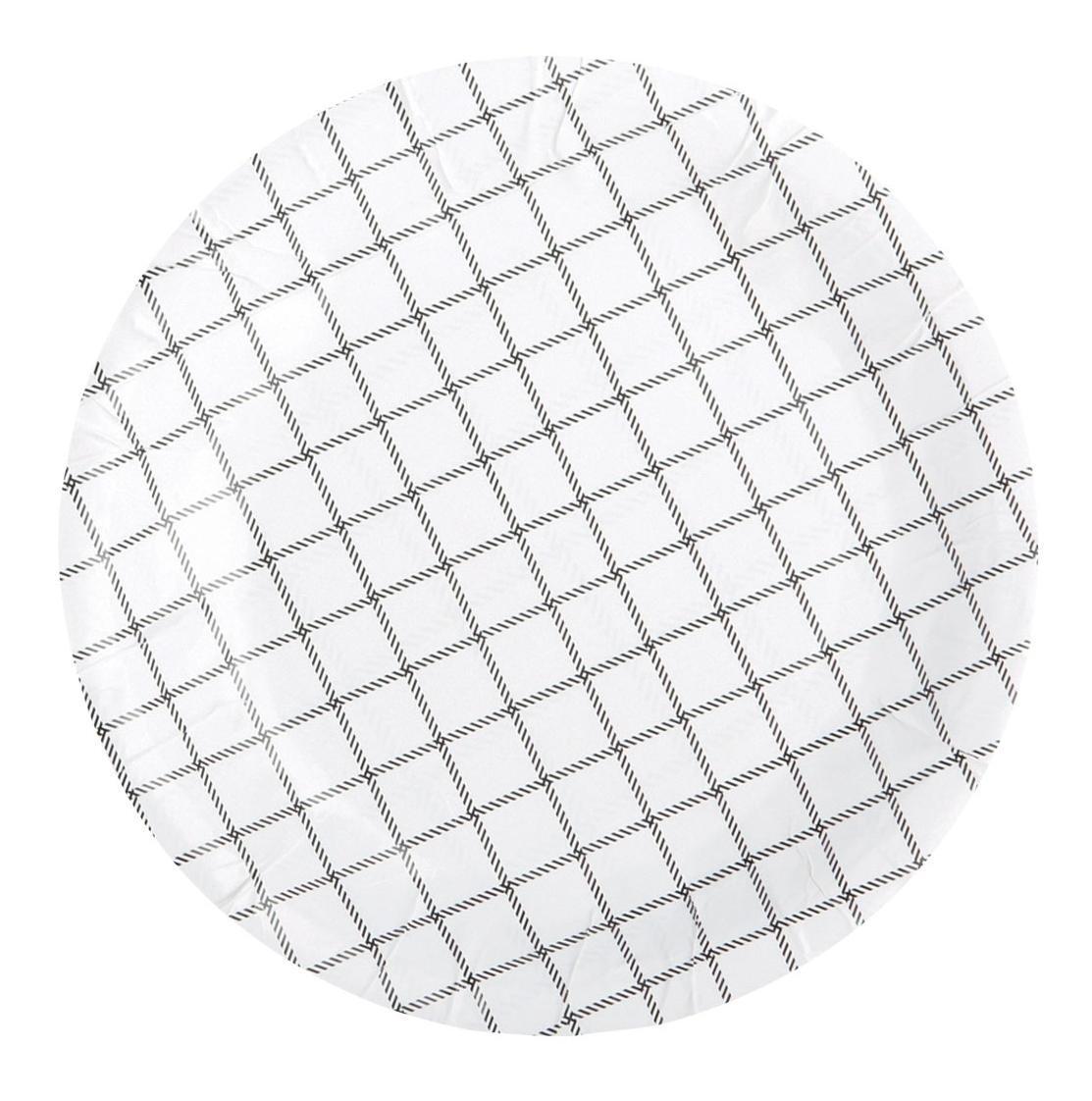 Nicolas Vahé Papírový talířek Chequered - 12 ks, šedá barva, černá barva, papír