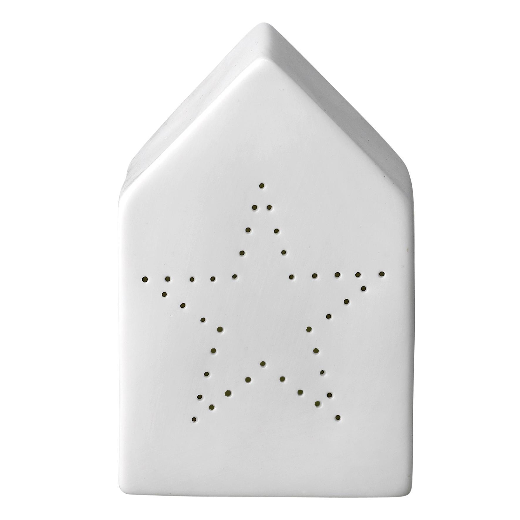 Bloomingville Porcelánová lucerna Star House, bílá barva, porcelán
