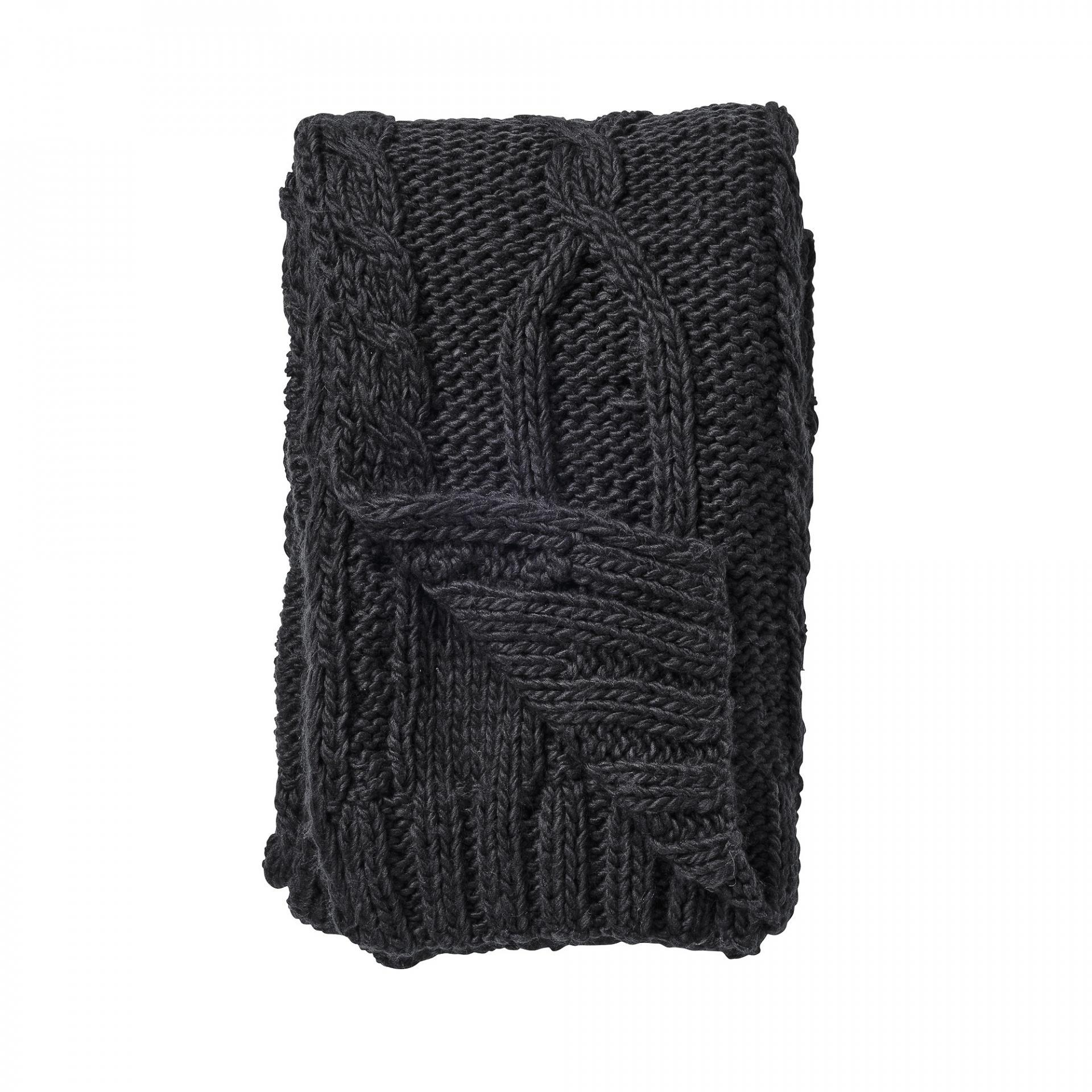Bloomingville Pletený pléd Strikket 152 x 127 cm, černá barva, textil