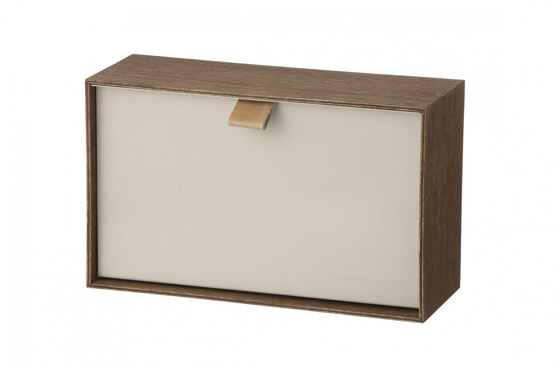 ferm LIVING Nástěnný box Enter, šedá barva, hnědá barva, dřevo