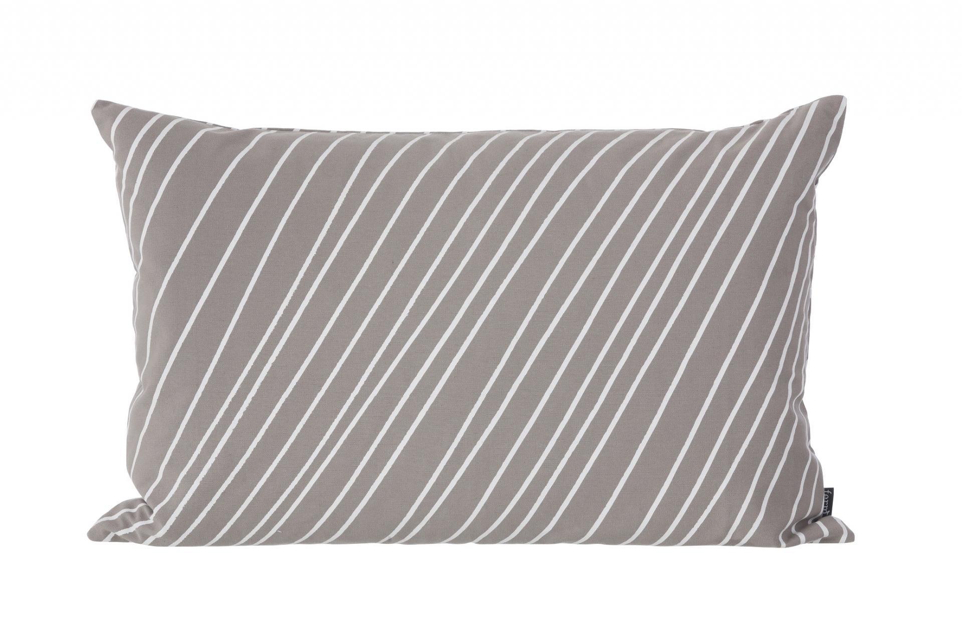 ferm LIVING Péřový polštář Stripes, šedá barva, textil