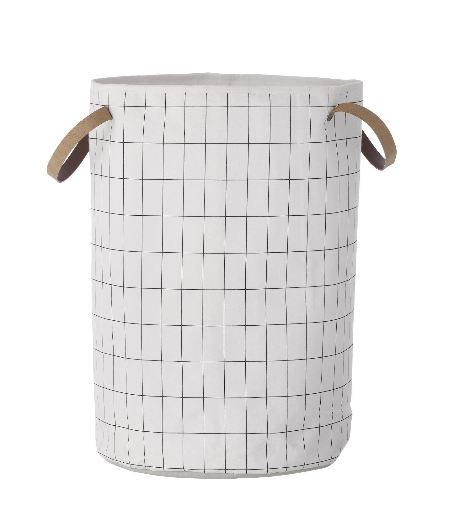 ferm LIVING Textilní koš na prádlo Grid, černá barva, bílá barva, textil