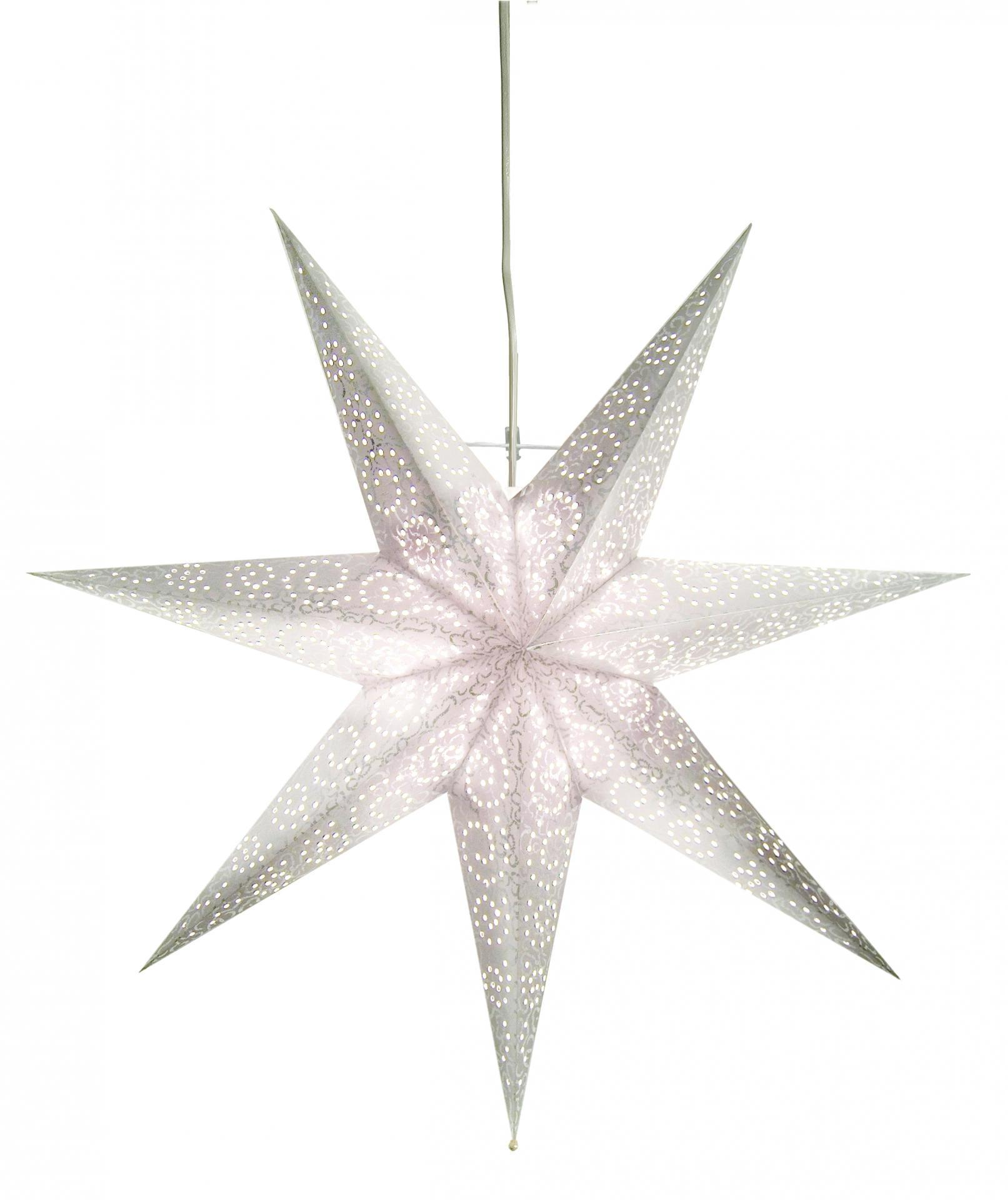 STAR TRADING Závěsná lampa Antique Star, šedá barva, bílá barva, papír