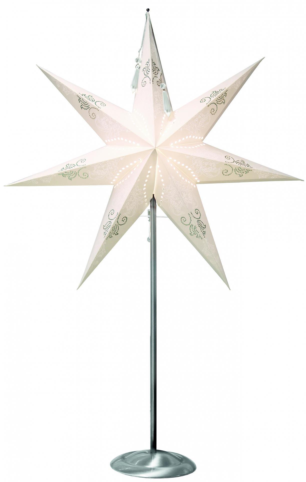 STAR TRADING Stojací lampa Diamond Star, bílá barva, kov, papír