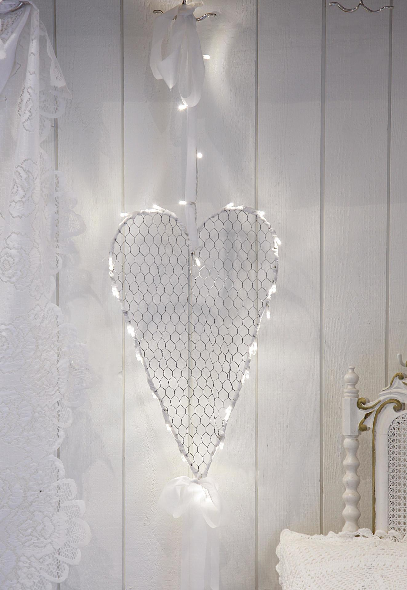 STAR TRADING Závěsné svítící srdce Hjärta, bílá barva, kov