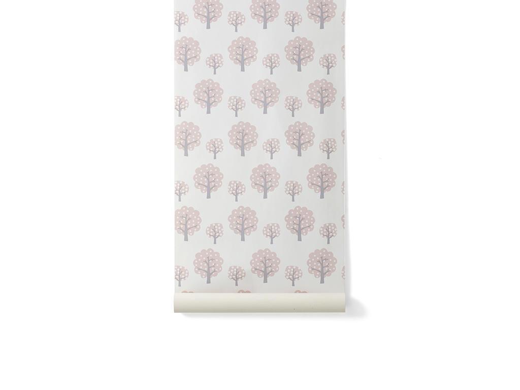 ferm LIVING Papírová tapeta Rose Tree, růžová barva, bílá barva, papír