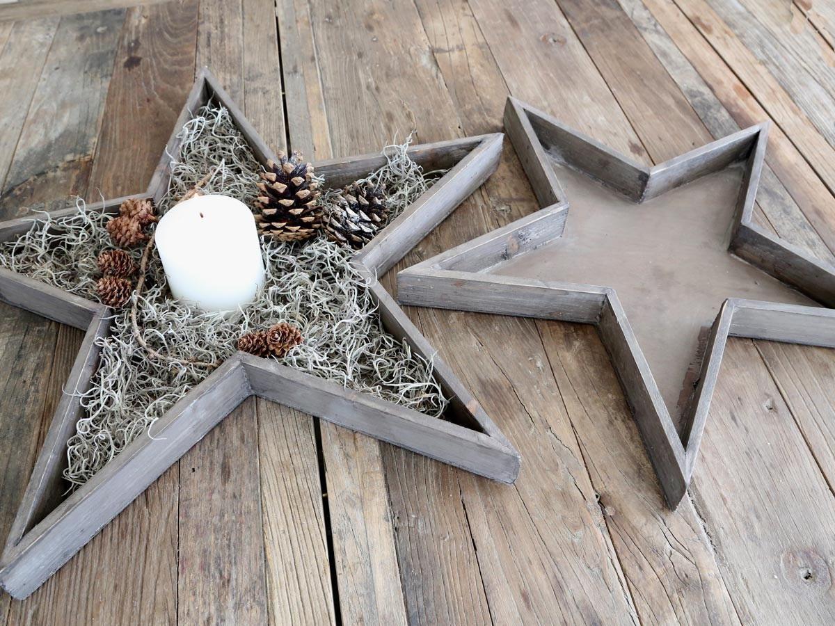 Chic Antique Dřevěný dekorativní tác Star Menší