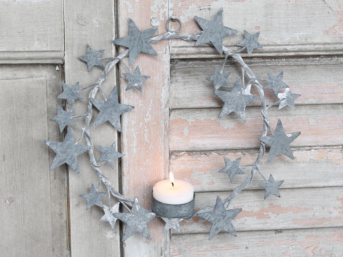 Chic Antique Dekorativní věnec se svícnem Zinc, šedá barva, kov