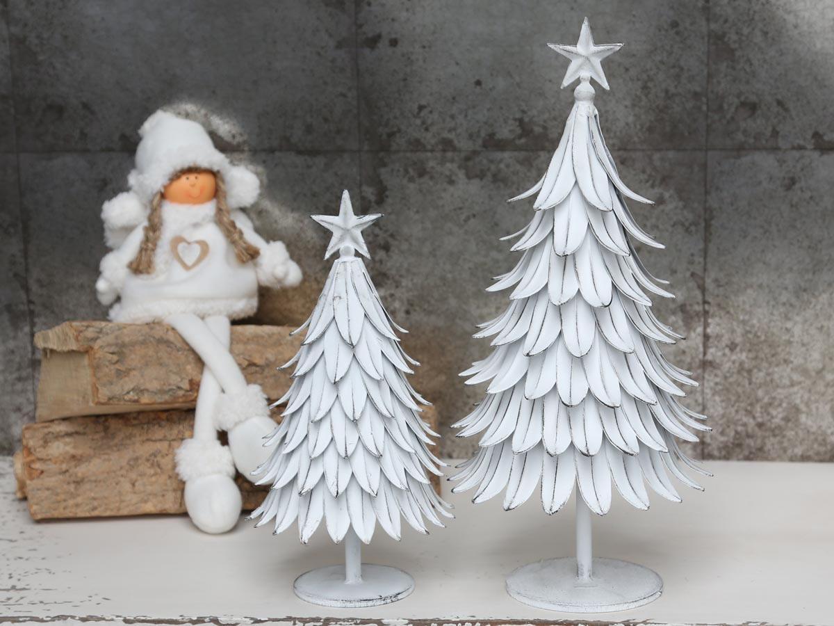 Chic Antique Dekorativní kovový stromeček - větší, bílá barva, zinek
