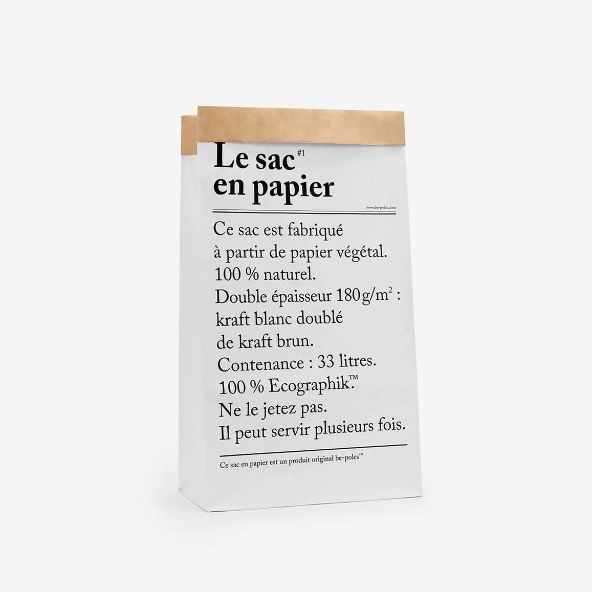 be-pôles Papírový pytel Le Sac En Papier, bílá barva, hnědá barva, papír
