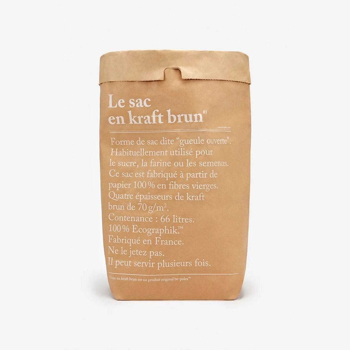 be-pôles Papírový pytel En Kraft, hnědá barva, papír
