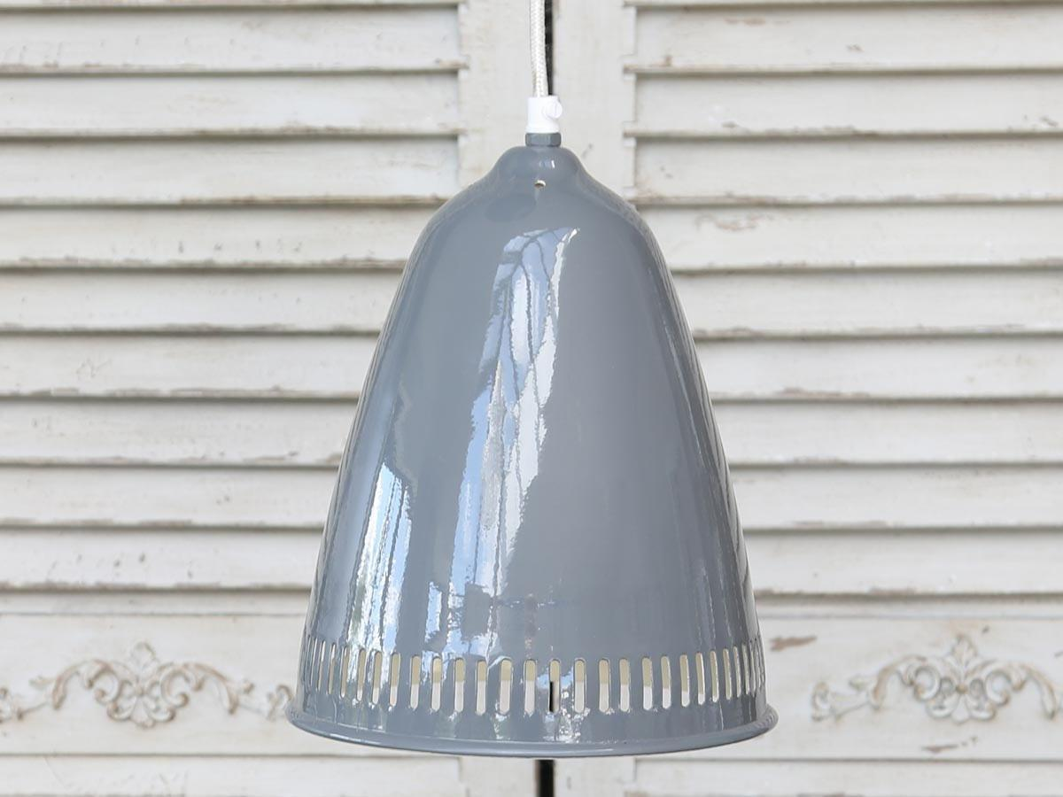 Chic Antique Stropní lampa Enamel grooves grey, šedá barva, kov