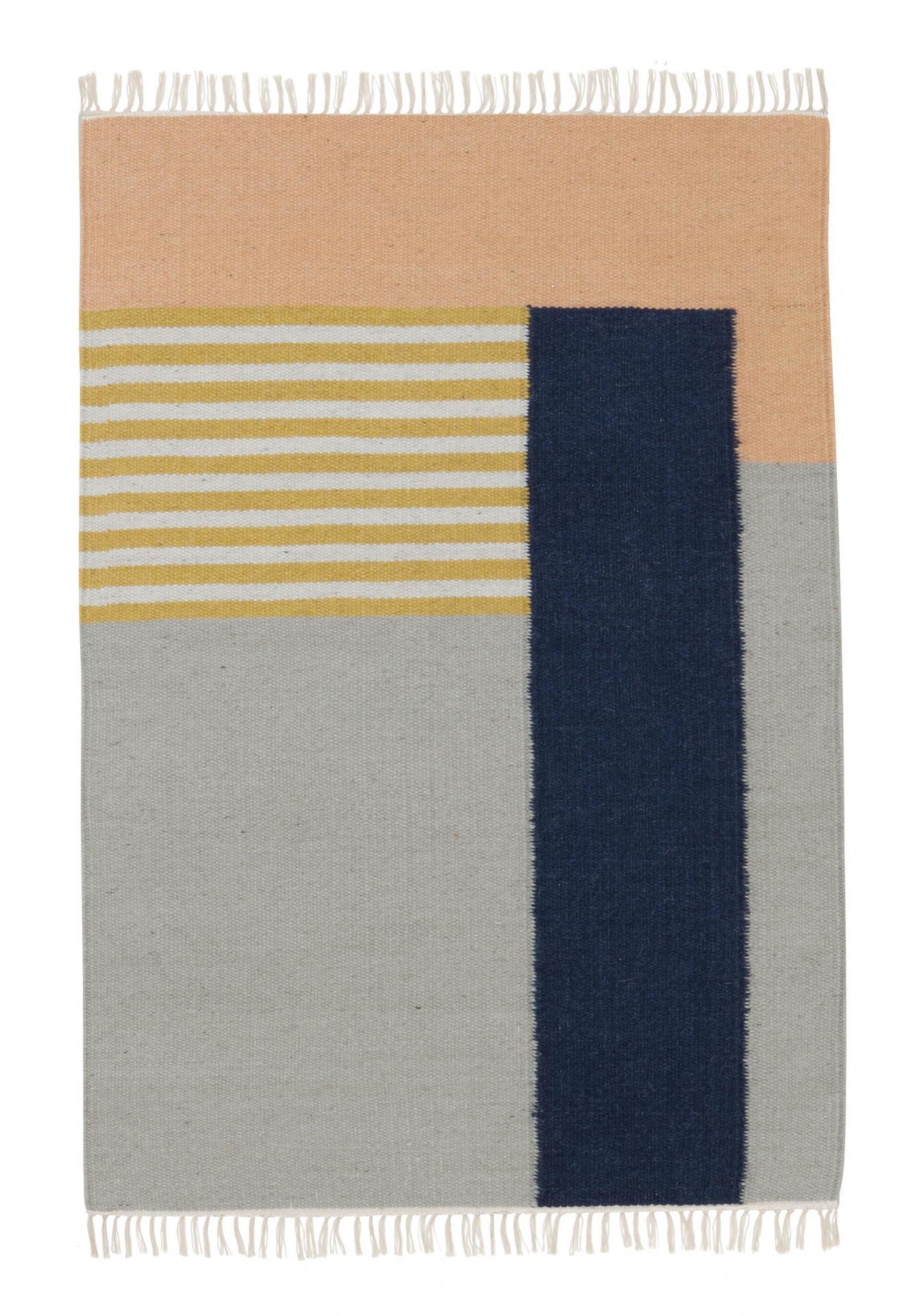 ferm LIVING Vlněný koberec White Lines L, multi barva, textil
