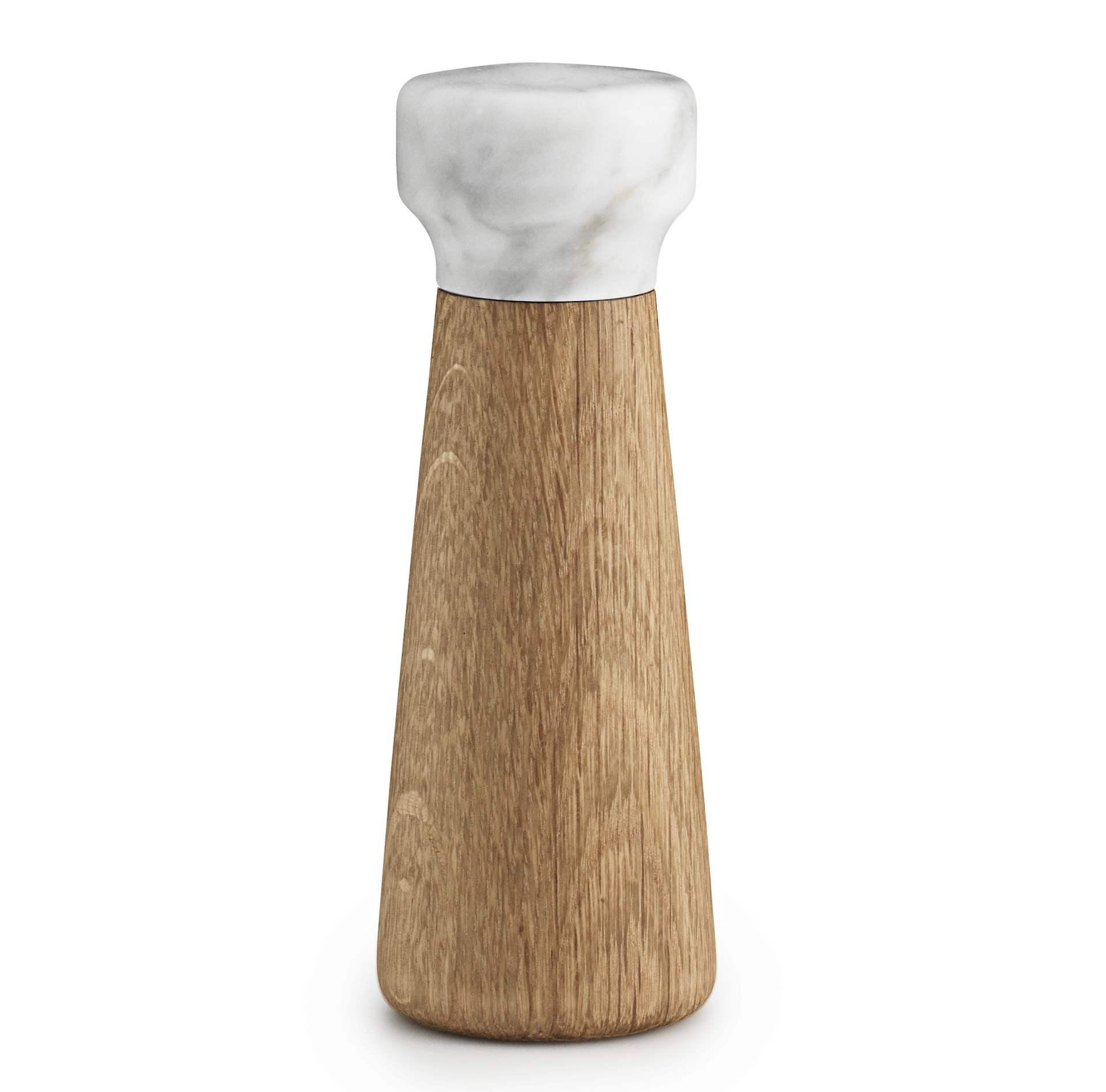 normann COPENHAGEN Mlýnek na sůl White marble, bílá barva, dřevo, mramor