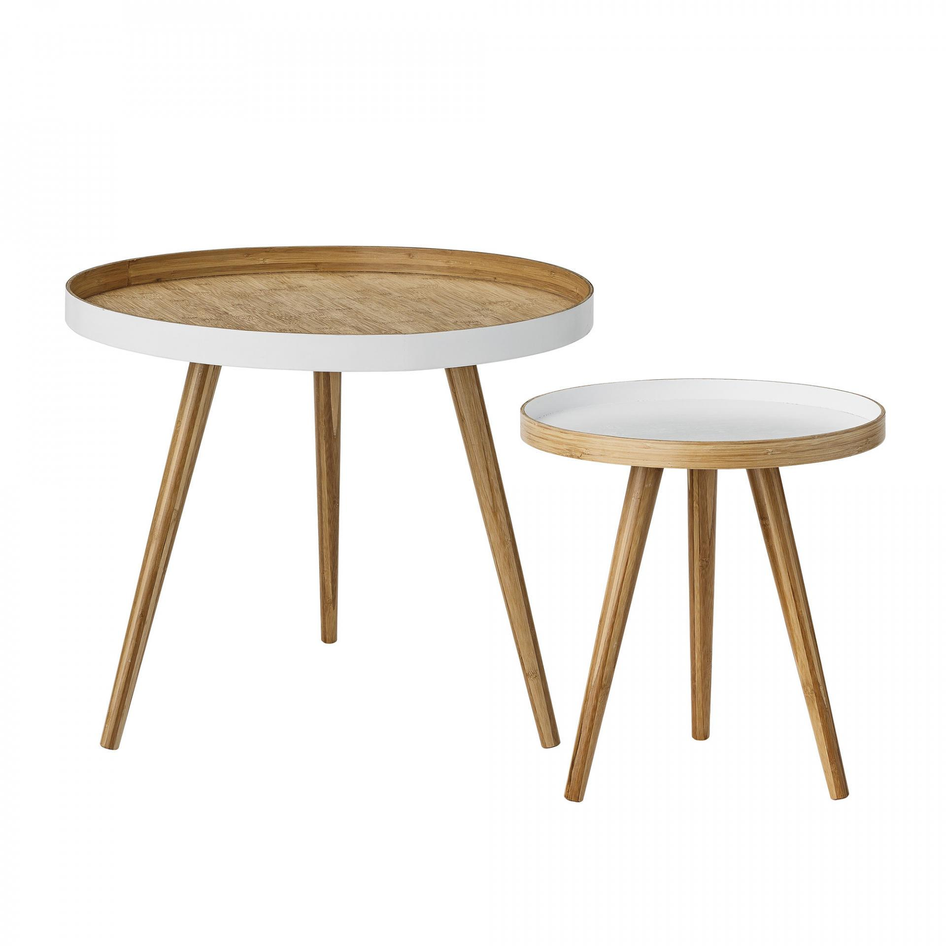 Bloomingville Bambusový stolek Bamboo round Větší, hnědá barva, dřevo