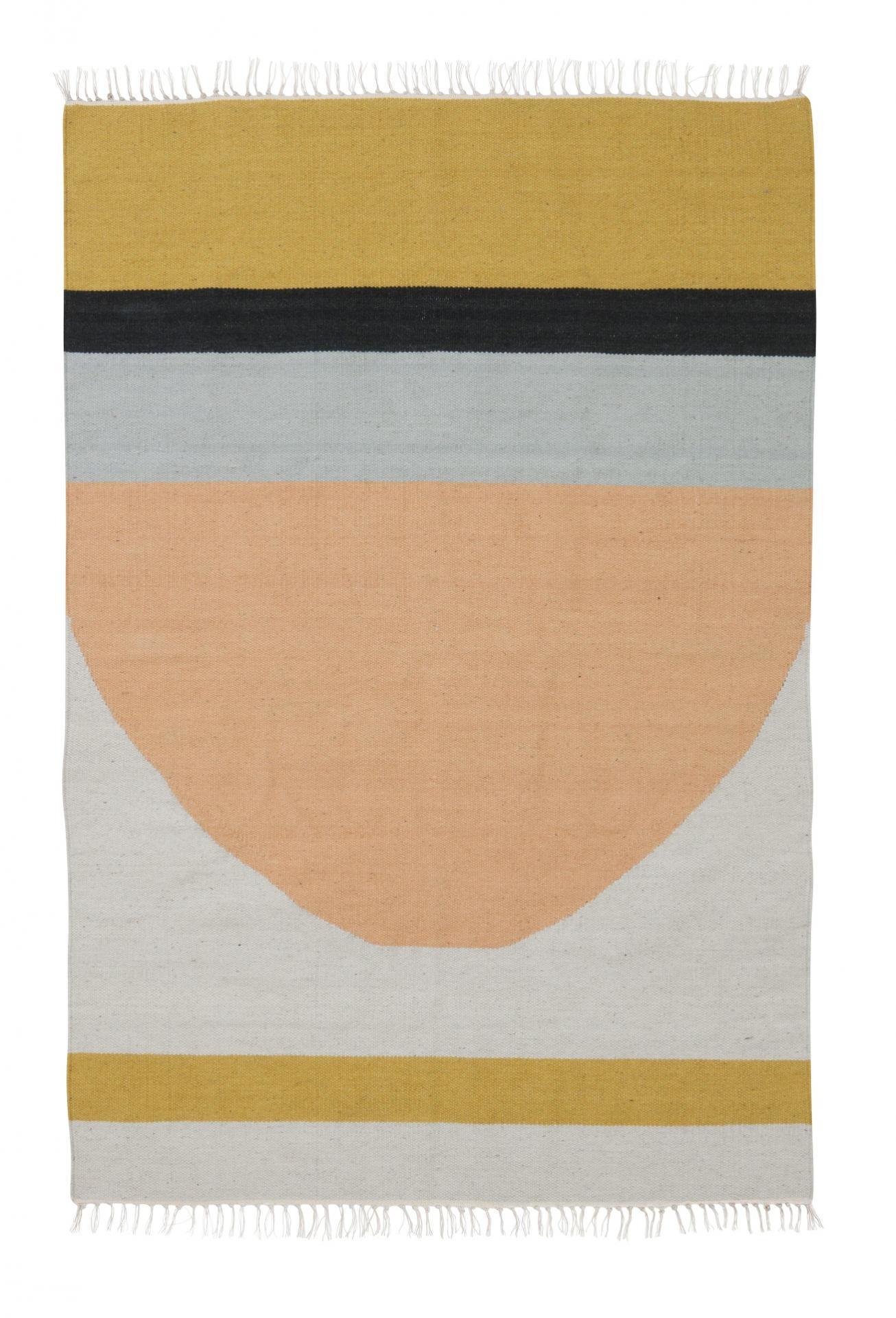 ferm LIVING Vlněný koberec Semicircle L, multi barva, textil
