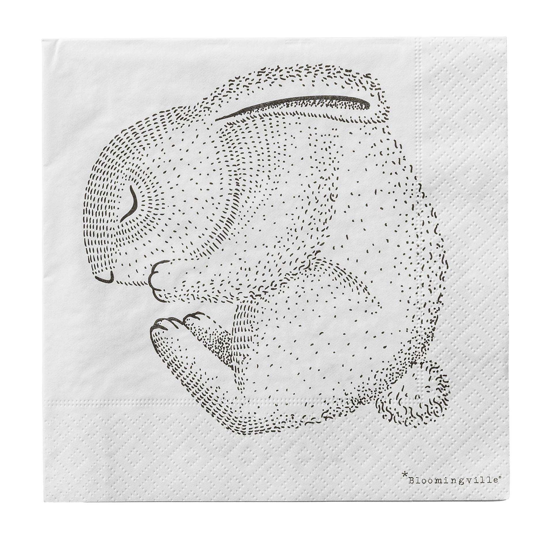 Bloomingville Papírové ubrousky Sleeping Animals, černá barva, bílá barva, papír