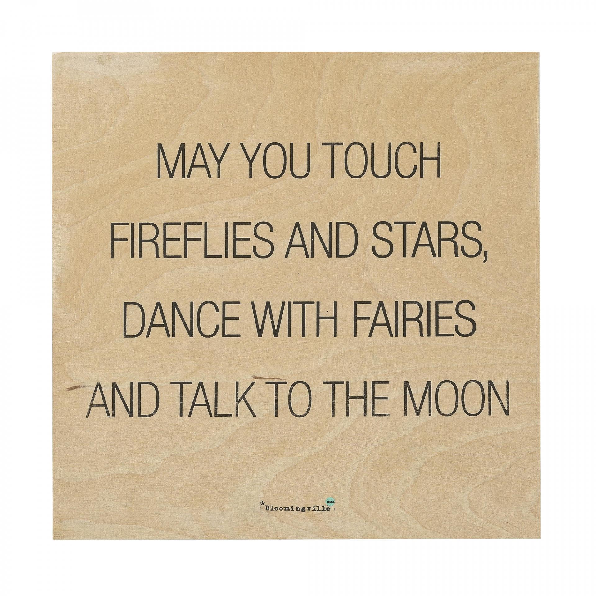 Bloomingville Dřevěná cedule Fireflies, černá barva, hnědá barva, dřevo