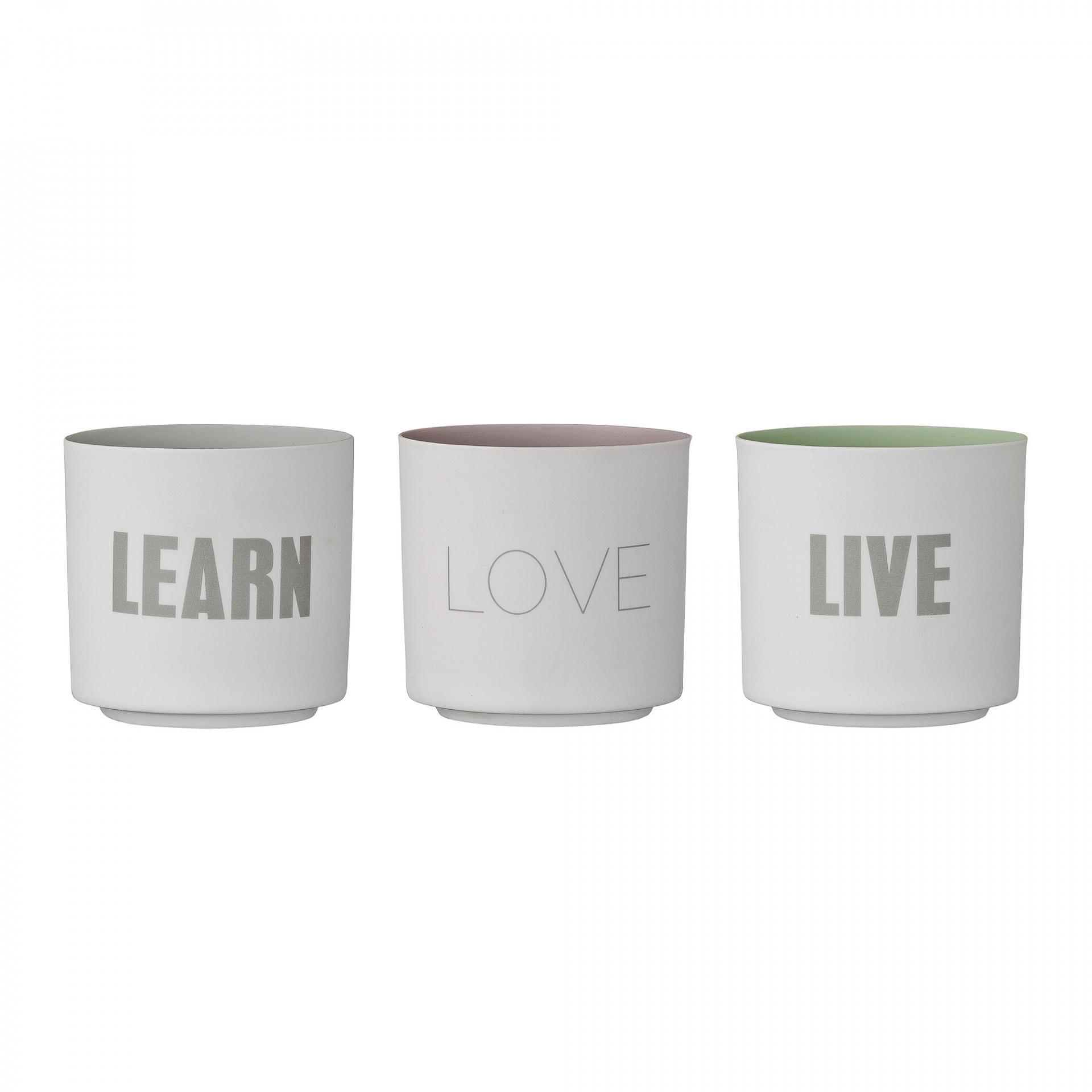 Bloomingville Porcelánový svícen Learn, Love, Live Live, fialová barva, šedá barva, bílá barva, porcelán